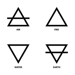 Symbols of the four elements of nature, icon set. Wind, fire, water, earth. Black triangular signs.
