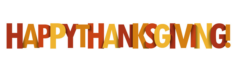 HAPPY THANKSGIVING vector typography banner in fall colors