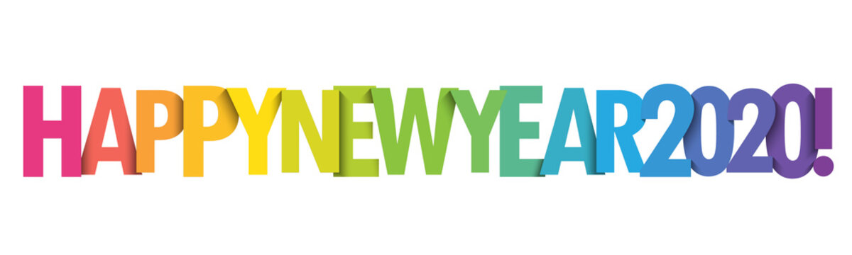 HAPPY NEW YEAR 2020! colorful gradient vector typography banner
