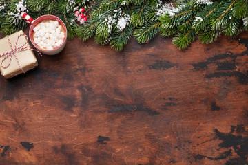 Christmas gift box and hot chocolate