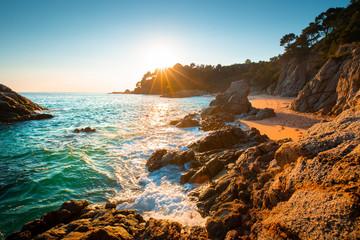 Fototapete - Costa Brava resort. Cala Boadella beach at sunrise