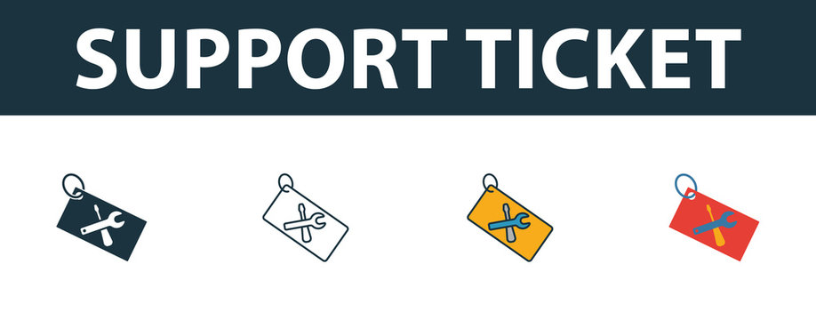Support Ticket icon set. Four simple symbols in diferent styles from web hosting icons collection. Creative support ticket icons filled, outline, colored and flat symbols