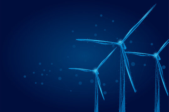 Three wind mills consisting of points, lines, and shapes. Wind turbines field. Renewable alternative sources of electric energy. Low poly wire frame vector illustration.