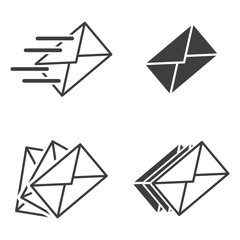 Set of icons for sending letters. Vector on a white background