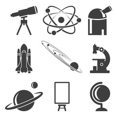 A set of icons related to science, research and discovery. Vector on a white background