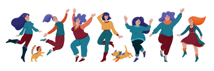 Set, group of happy dancing women in warm clothes, autumn season celebration, body positive concept, vector illustration isolated on white background. Set of happy pretty girls, women dancing