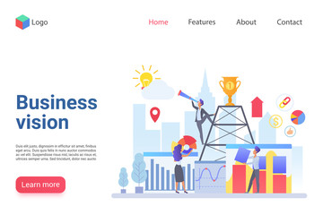 Business vision flat landing page template. Company promotion website design layout. Business development, strategy building web page concept. Teamwork improvement, staff support webpage interface