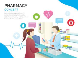 Pharmacy store concept illustration. Man buy drugs at the pharmacy. Drugstore vector illustration