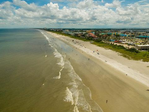 Aerial Seascape Of Cocoa Beach In Florida USA
