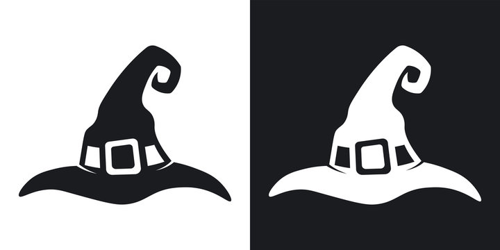 Witch hat silhouette, halloween illustration. Two-tone vector icon on black and white background