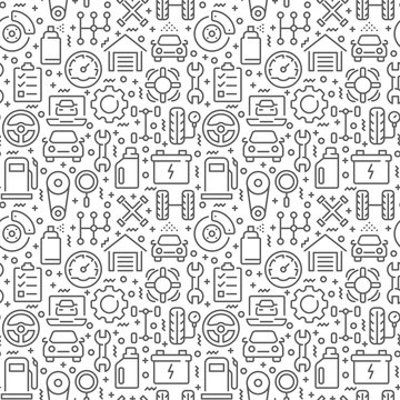 Car service seamless pattern with thin line icons