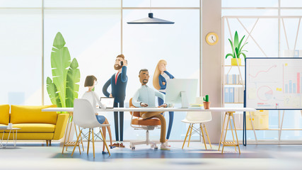 Concept of creative team. Modern office. 3d illustration.  Cartoon characters. Business teamwork concept.