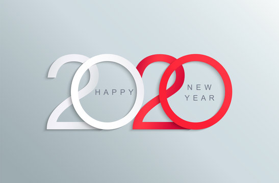 Happy 2020 new year elegant red and white greeting card for your seasonal holidays banners,flyers, invitations,christmas congratulations,banners,posters, placards, business diaries.Vector illustration