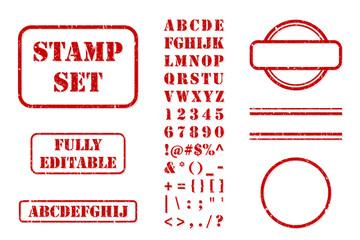 Rubber Stamp Set Vector Kit