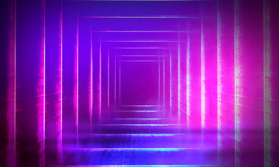 Empty scene in ultraviolet with rays and neon light. Abstract background, tunnel, room, corridor.