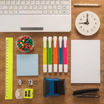 School office supplies on a desk