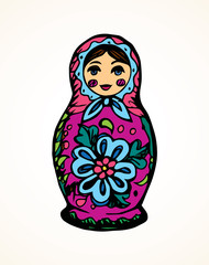 Vector drawing. Nested doll