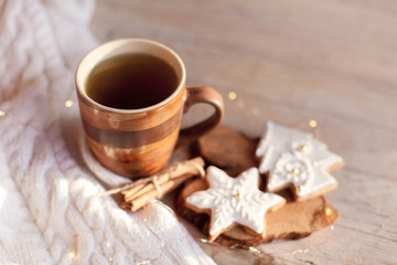 Christmas tea time. Mug of hot steamy beverage, gingerbread cookies at wooden and knitted background. Cozy morning breakfast with homemade sweets and cup. Winter food, drinks, new year lights.
