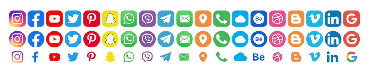 Facebook, twitter, instagram, youtube, snapchat, pinterest, whatsap, linkedin, google, cloud - Collection of popular contact social icons. Editorial illustration. Vinnitsa, Ukraine, September 23, 2019