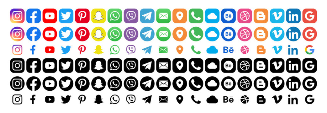 Facebook, twitter, instagram, youtube, snapchat, pinterest, whatsap, linkedin, google, cloud - Collection of popular contact social icons. Editorial vector. Vinnitsa, Ukraine - September 23, 2019