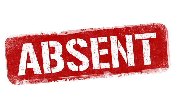 Absent sign or stamp