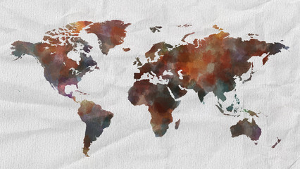 Watercolor world map with paper textur