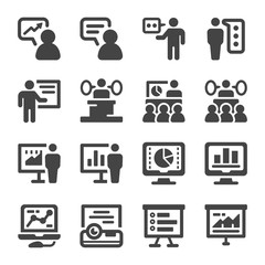 presentation and presenter icon set,vector and illustration