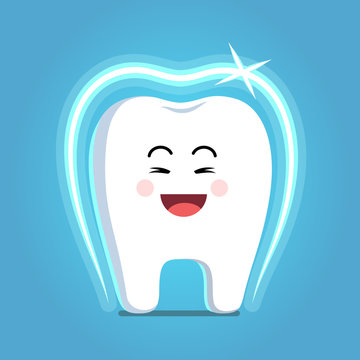 Cartoon tooth with shining protective coat shield