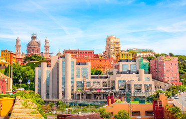 Panoramic view  of Genoa (Genova) in a beautiful summer day, Liguria, Italy Fototapete