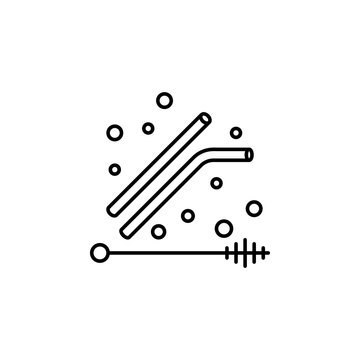 Plastic pollution straw icon. Element of plastic pollution thin line icon