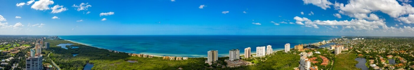 Aerial panoramic photo Naples Florida Gulf of Mexico