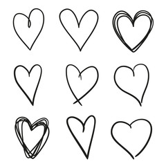 Hand drawn grunge hearts on isolated white background. Set of love signs. Unique image for design. Black and white illustration