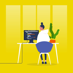 Web development. Young female character writing a code on a desktop computer. Modern technologies. Tech industry. Startup. Flat editable vector illustration, clip art