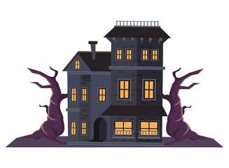 halloween dark haunted mansion with tree plant