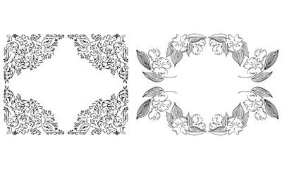 Tropical hand drawn floral frames. Outline set. Jungle foliage illustration. Floral set. Hand drawing. Vector isolated collection. Natural spring wedding card. Summer tropical leaf. Botanical frames