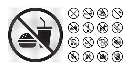 High quality prohibition signs collection isolated on white. Urban rules. Monochrome, one color, in one paint, black and white.