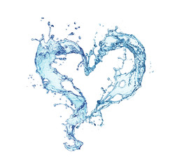 Valentine heart made of blue water splash isolated on white background