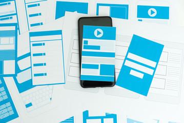 Obraz Developing wireframe UX/UI mobile application design. - fototapety do salonu