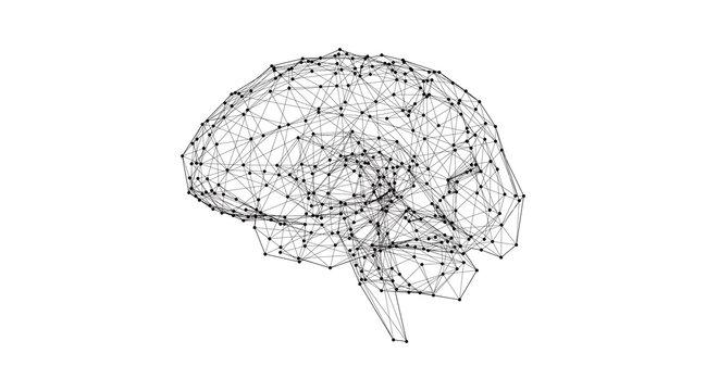 Low poly human brain illustration glowing on white BG