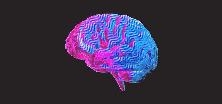 Colorful polygonal brain graphic design on dark BG