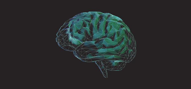 Green polygonal brain graphic design on dark BG