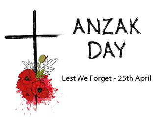ANZAC (Australia New Zealand Army Corps) Day card in vector format. Abstract background with poppies and text Lest we forget - 25 april.