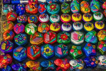 Colorful Small Ceramic Boxes Frogs Oaxaca Mexico