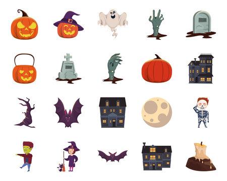 bundle of halloween set icons