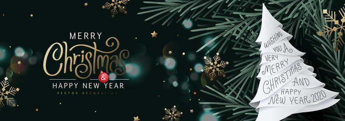 Fototapete - Merry Christmas and Happy New Year Background sparkle blur bokeh effect. banner.Merry Christmas vector text Calligraphic Lettering Vector illustration.