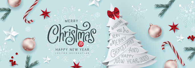 Christmas Decorative Border made of Festive Elements Background .Merry Christmas vector text Calligraphic Lettering Vector illustration.