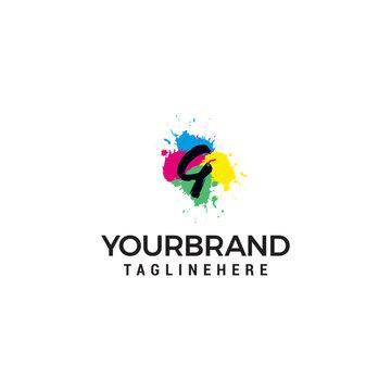 Letter G logo at colorful paint splash background design element template