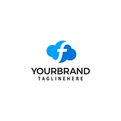 initial leter F cloud logo vector illustration design template