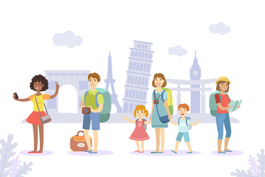 Traveling People Set, Tourists with Luggage Sightseeing and Making Photo Vector Illustration