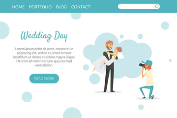 Wedding Day Landing Page, Website or Mobile App Template, Wedding Party Planning Service Vector Illustration